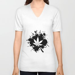 Canabis Black and white Unisex V-Neck