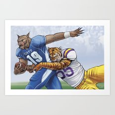 Wildcats versus Tigers Art Print