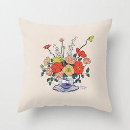 Teacup Flowers Throw Pillow