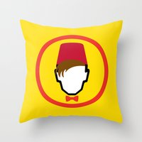fez Throw Pillows featuring Man With Fez by Evan Ayres