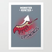 monster hunter Art Prints featuring Monster Hunter All Stars - The Kotoko Upswings  by Bleached ink