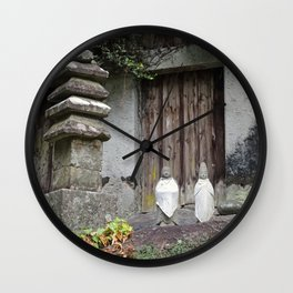 white bids on mount koya jizo statues Wall Clock