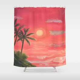 Palm trees swaying in the wind Shower Curtain