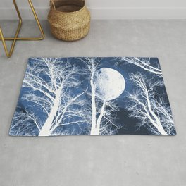 She walks the night in her silver shoon - Blue and silver moon and trees Rug