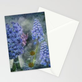 Painterly spring flowers on a grunge background Stationery Cards