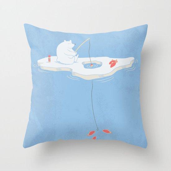 Gone Ice Fishin' Throw Pillow
