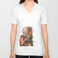 tank girl V-neck T-shirts featuring Tank Girl by Joe carver