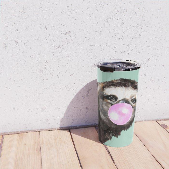 Bubble Gum Sneaky Sloth in Green Travel Mug