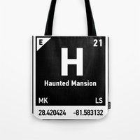 haunted mansion Tote Bags featuring elements of H (Haunted Mansion) by designoMatt