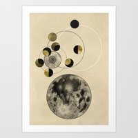 the moon Art Prints featuring Moon by J Arell