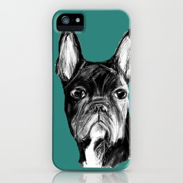 French Bulldog. Teal  iPhone Case