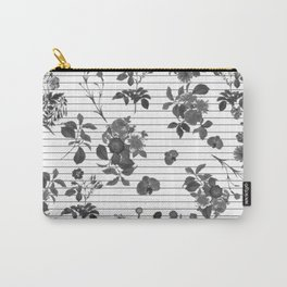 Black and White Floral on Stripes Carry-All Pouch
