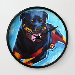 Earl the Rottweiler Pop Art Painting Wall Clock