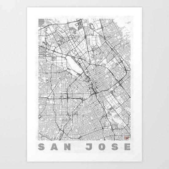 San Jose Map Line Art Print