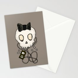 Girly Skull with Black Bow / Die for Music Stationery Cards