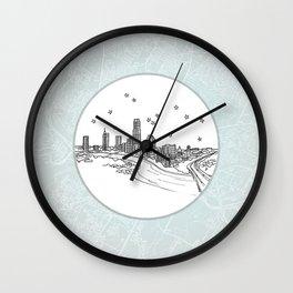 Austin, Texas City Skyline Illustration Drawing Wall Clock