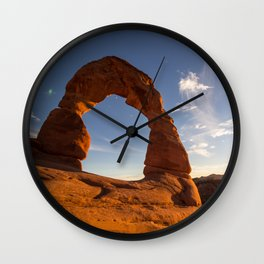 Sunset at Delicate Arch Wall Clock