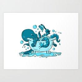 Octopus Bath Art Print