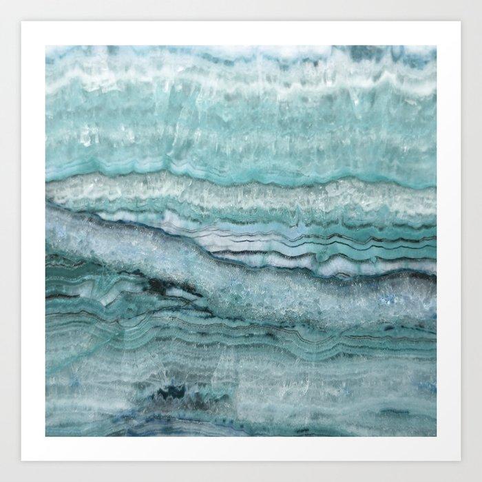 Mystic Stone Aqua Teal Kunstdrucke