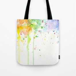 Watercolor Rainbow Splatters Abstract Texture Tote Bag