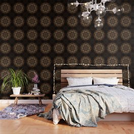 Rich Brown and Gold Textured Mandala Art Wallpaper