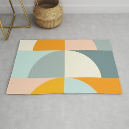 Summer Evening Geometric Shapes in Soft Blue and Orange Rug