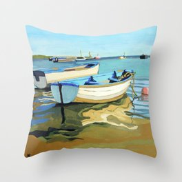 The Blue Boats Throw Pillow