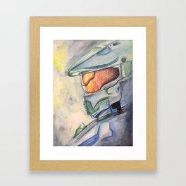 Halo gaming watercolor design Framed Art Print