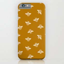 Bee pattern in gold yellow background iPhone Case