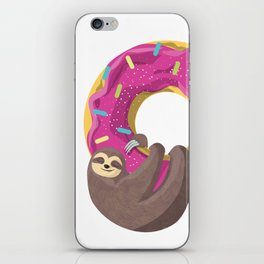 Cute sloth hanging from the donut iPhone Skin