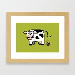 Pooping Cow Framed Art Print