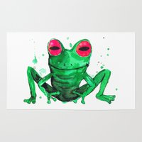 frog Area & Throw Rugs featuring Frog by Bwiselizzy