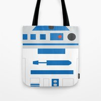 r2d2 Tote Bags featuring r2d2 by heartfeltdesigns by Telahmarie