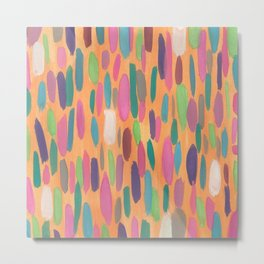 Colorful Dots on Orange Background Abstract Metal Print