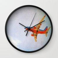 airplane Wall Clocks featuring Airplane by KimberosePhotography