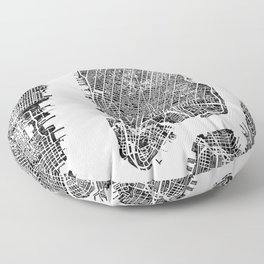 New York City Map United States White and Black Rubbing Floor Pillow