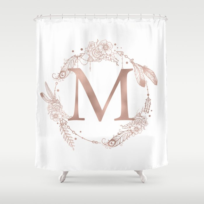 Letter M Rose Gold Pink Initial Monogram Shower Curtain By
