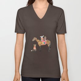 Family with horse, fox, rabbit, owl Unisex V-Neck