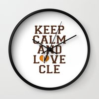 nfl Wall Clocks featuring LOVE CLE BROWNS II by C. Wie Design