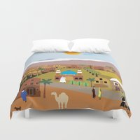 arab Duvet Covers featuring Peaceful Arab village In the desert by Design4u Studio