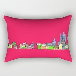 Sketchy Town in pink Rectangular Pillow