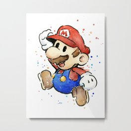 Mario Watercolor Metal Print