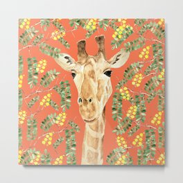 Giraffe and Acacia Metal Print