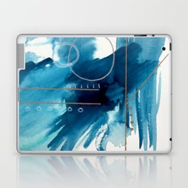Beneath the Waves Series 2 - a blue and gold abstract mixed media set Laptop & iPad Skin