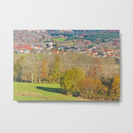 Small French village in Rhone-Alpes in autumn Metal Print