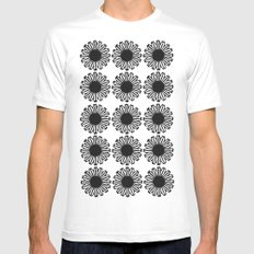 vintage flowers black MEDIUM Mens Fitted Tee White