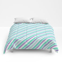 Deep Sea Green Turquoise Violet Inclined Stripes Comforters
