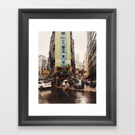 Hong Kong in the Rain Framed Art Print