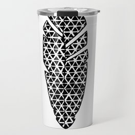 Black and White Patterned Feather Travel Mug