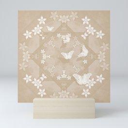 Dreamy butterflies and mandala in iced coffee Mini Art Print